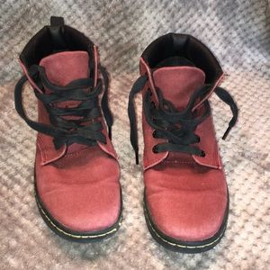 Dr Martens Red Canvas High Tops  Sz 8 US